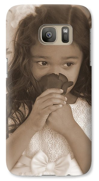 Galaxy Case featuring the photograph Girl Smelling A Rose  by Heidi Manly