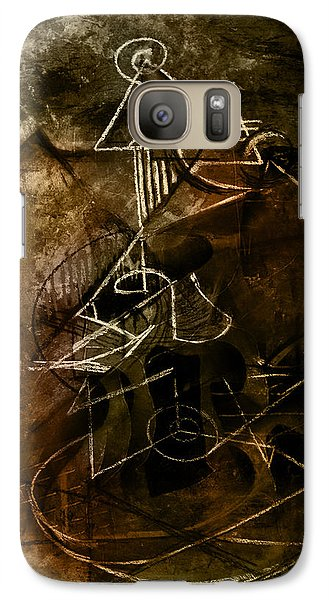 Galaxy Case featuring the mixed media Girl With Guitar Study by Kim Gauge