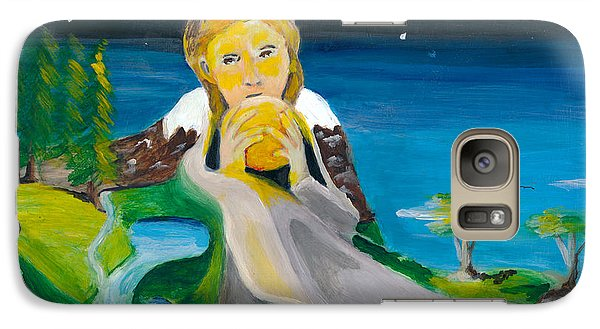 Galaxy Case featuring the painting Girl With Sun by Denise Deiloh