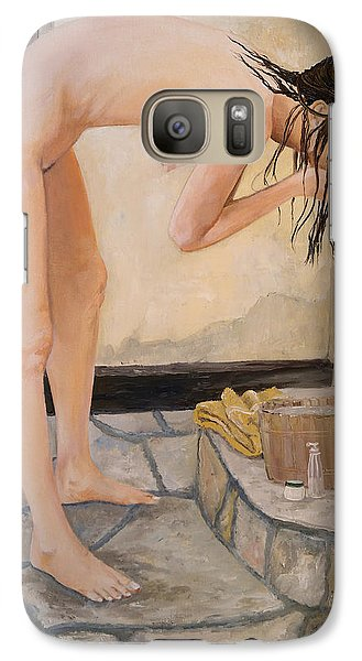 Galaxy Case featuring the painting Girl With The Golden Towel by Alan Lakin