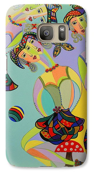 Galaxy Case featuring the painting Girls Fantasy by Marie Schwarzer