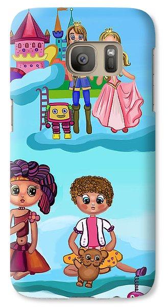 Galaxy Case featuring the digital art Girls Playing by Bogdan Floridana Oana