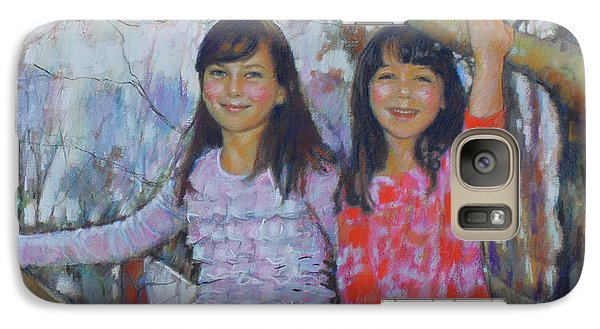 Galaxy Case featuring the drawing Girls Upon The Tree by Viola El
