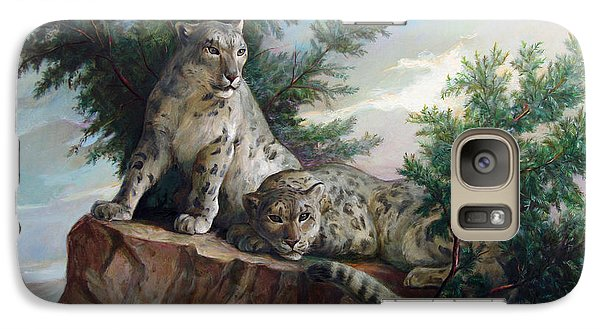 Galaxy Case featuring the painting Glamorous Friendship- Snow Leopards by Svitozar Nenyuk