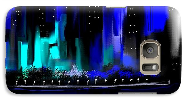 Galaxy Case featuring the painting Glowing City In Blue And Aqua by Jessica Wright