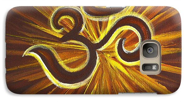 Galaxy Case featuring the painting Glowing Om Symbol by Agata Lindquist