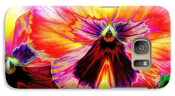 Galaxy Case featuring the digital art Glowing Pansey by Suzanne Silvir