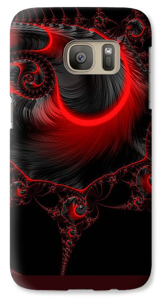 Glowing Red And Black Abstract Fractal Art Galaxy S7 Case by Matthias Hauser