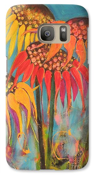 Galaxy Case featuring the painting Glowing Sunflowers by Lyn Olsen