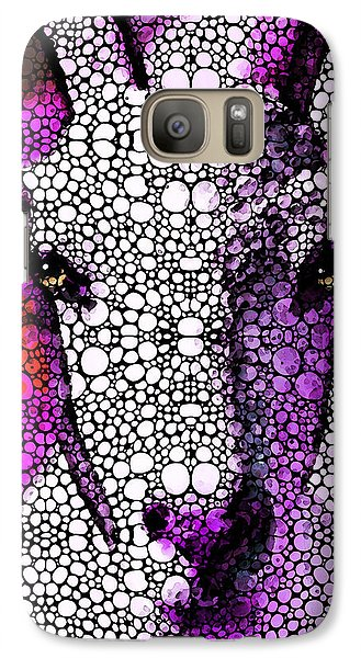 Goat - Pinky - Stone Rock'd Art By Sharon Cummings Galaxy Case by Sharon Cummings