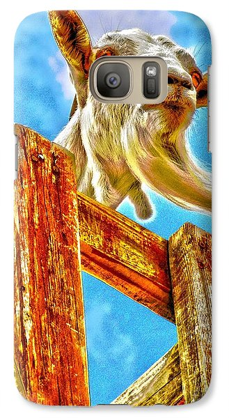 Galaxy Case featuring the photograph Goat Up High by Annie Zeno