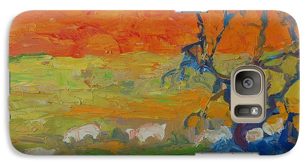 Galaxy Case featuring the painting Goats With Orange Hill And Blue Tree by Thomas Bertram POOLE