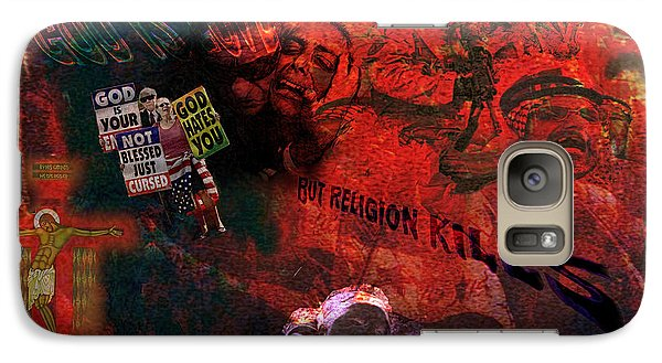 Galaxy Case featuring the painting God Is Love But Religion Kills by Ron Richard Baviello