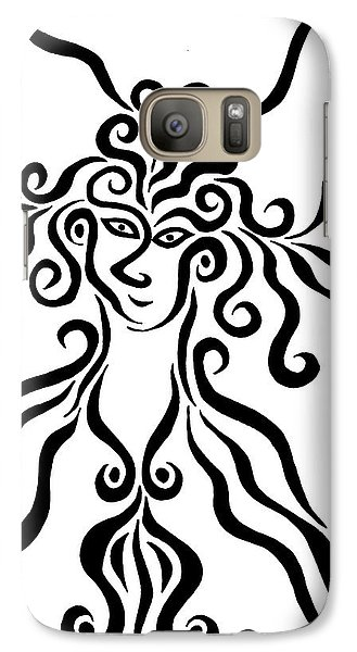 Galaxy Case featuring the drawing Goddess by Beth Akerman