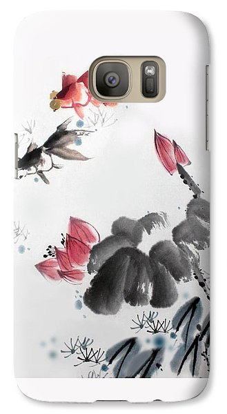 Galaxy Case featuring the photograph Gold Fish In Lotus Pond by Yufeng Wang