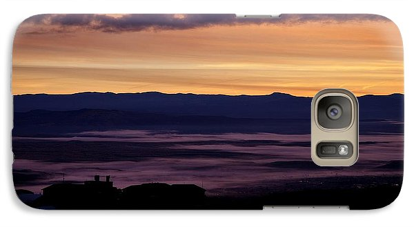 Galaxy Case featuring the photograph Gold Sky Purple Fog Sunrise by Ron Chilston