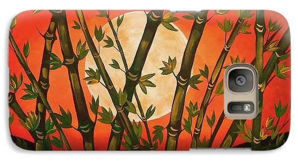 Galaxy Case featuring the painting Golden Bamboo Moon by Cindy Micklos