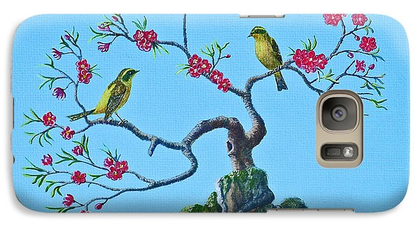 Galaxy Case featuring the painting Golden Bush Robins In Old Plum Tree by Anthony Lyon