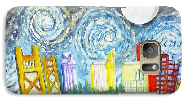 Galaxy Case featuring the painting Golden City Baseball by Carol Duarte