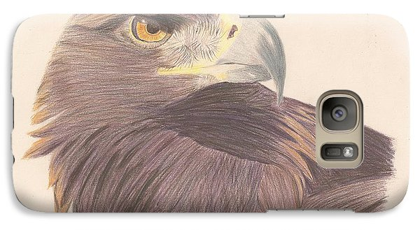 Galaxy Case featuring the drawing Golden Eagle Study by Sheila Byers