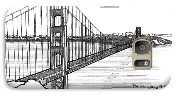 Galaxy Case featuring the drawing Golden Gate Bridge by Calvin Durham