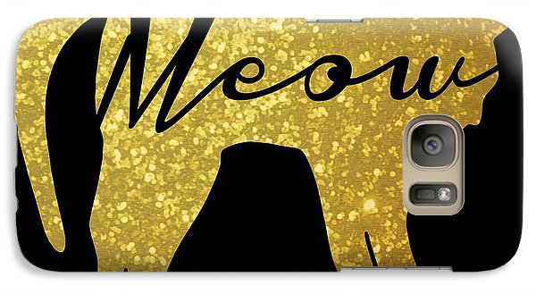 Cat Galaxy S7 Case - Golden Glitter Cat - Meow by Pati Photography
