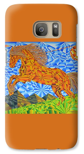 Galaxy Case featuring the painting Golden Horse Over The Bitterroot's by Joseph J Stevens