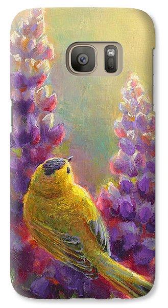 Golden Light 1 Wilsons Warbler And Lupine Galaxy S7 Case