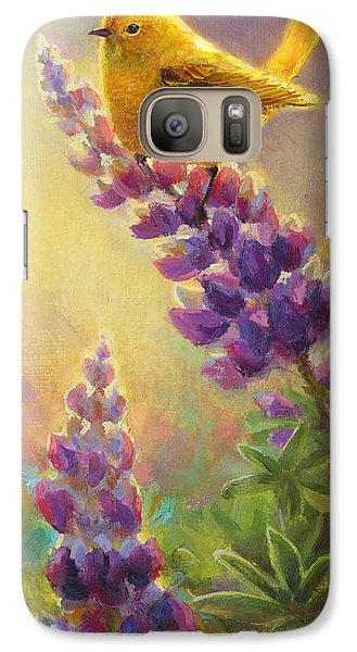 Golden Light 2 Wilsons Warbler And Lupine Galaxy S7 Case