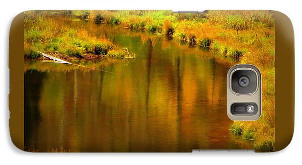 Galaxy Case featuring the photograph Golden Reflections by Karen Shackles