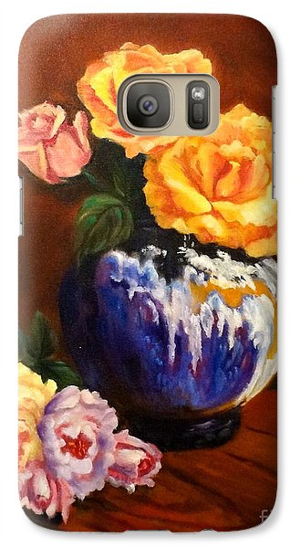Galaxy Case featuring the painting Golden Roses by Jenny Lee