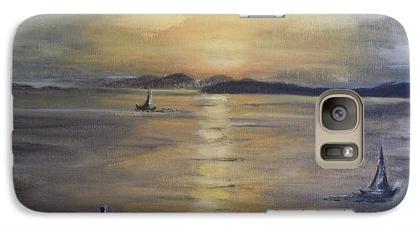 Galaxy Case featuring the painting Golden Sea View by Teresa White