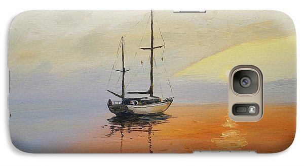 Galaxy Case featuring the painting Golden Sunset by Alan Lakin