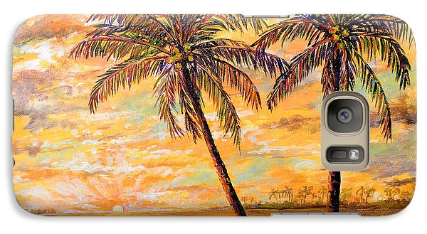 Galaxy Case featuring the painting Golden Tropics by Lou Ann Bagnall