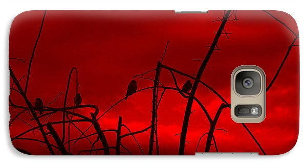 Galaxy Case featuring the photograph Goldfinch Against Red by Heidi Manly