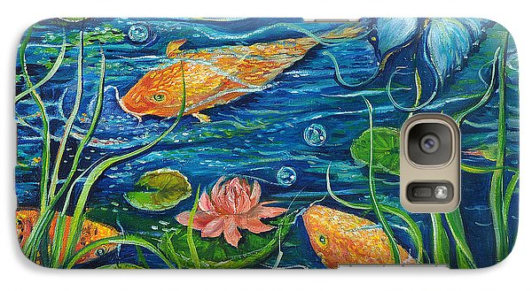Galaxy Case featuring the painting Goldfish And Butterfly by Yolanda Rodriguez
