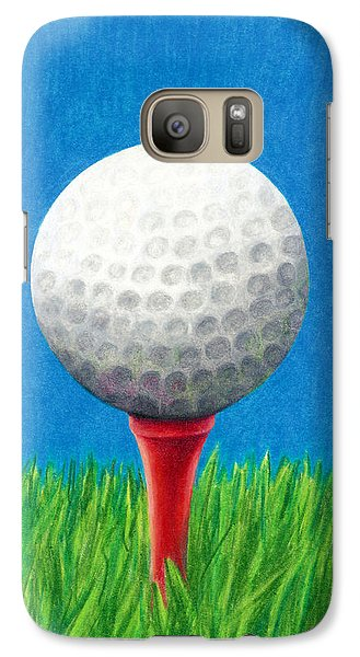 Galaxy Case featuring the drawing Golf Ball And Tee by Janice Dunbar