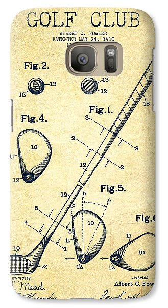 Golf Club Patent Drawing From 1910 - Vintage Galaxy S7 Case