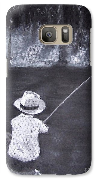 Galaxy Case featuring the drawing Gone Fishin' by Mary Lynne Powers