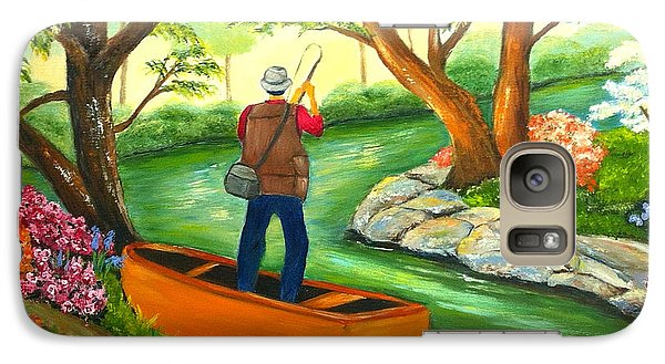 Galaxy Case featuring the painting Gone Fishing by Shelia Kempf