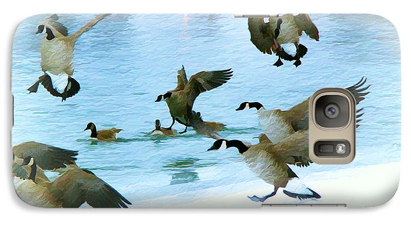 Galaxy Case featuring the photograph Goose Hop by Kathy Bassett