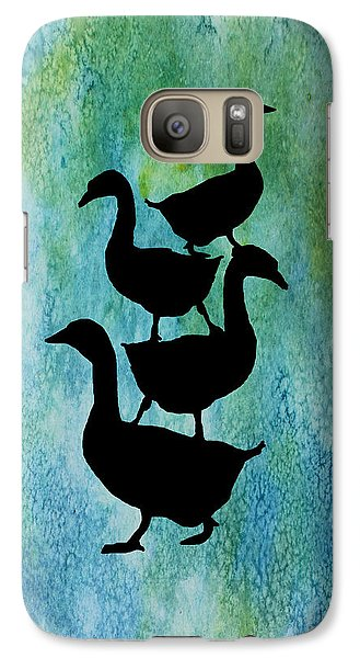 Goose Pile On Aqua Galaxy Case by Jenny Armitage