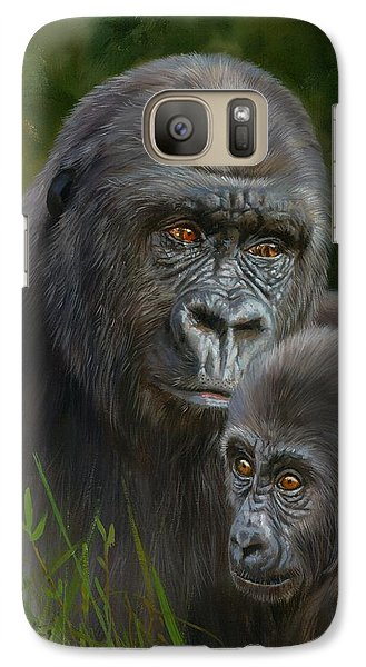 Gorilla Galaxy S7 Case - Gorilla And Baby by David Stribbling