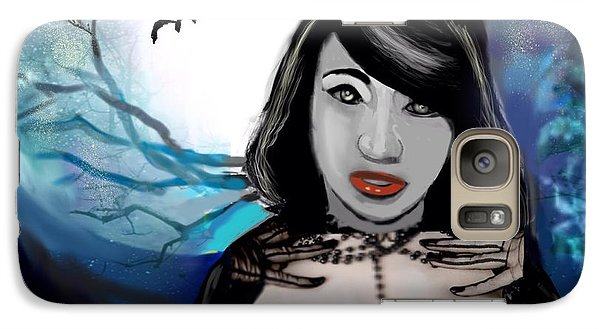 Galaxy Case featuring the digital art Goth Pussycat by Diana Riukas