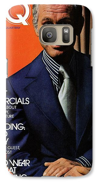 Gq Cover Of Johnny Carson Wearing Suit Galaxy Case by Bruce Bacon