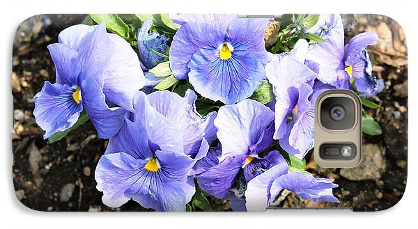 Galaxy Case featuring the photograph Graceful Pansies by Judy Palkimas