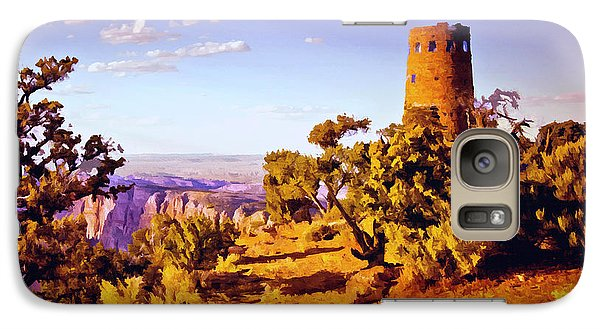 Galaxy Case featuring the painting Grand Canyon National Park Golden Hour Watchtower by Bob and Nadine Johnston