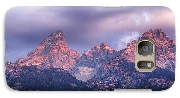 Galaxy Case featuring the photograph Grand Teton In Morning Clouds by Alan Vance Ley