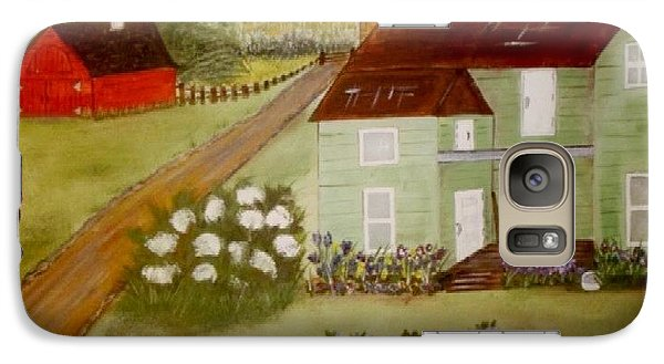 Galaxy Case featuring the painting Grandmas Farm by Cindy Micklos