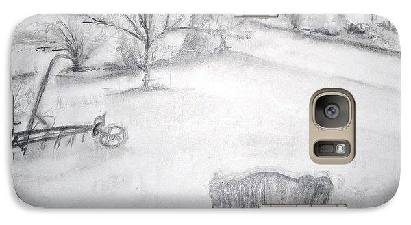 Galaxy Case featuring the painting Grandpa's Backyard II by Helena Bebirian